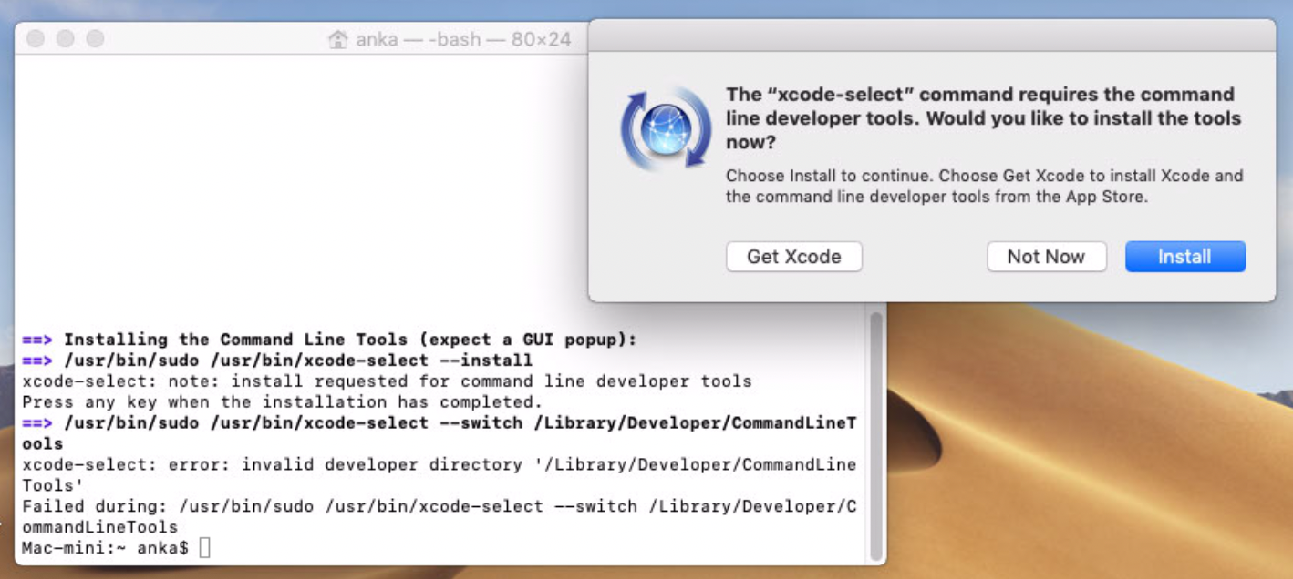 Headless Xcode Command Line Tools installation failed on