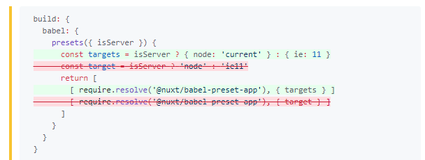 Cannot include @nuxt/babel-preset-app in nuxt config js · Issue