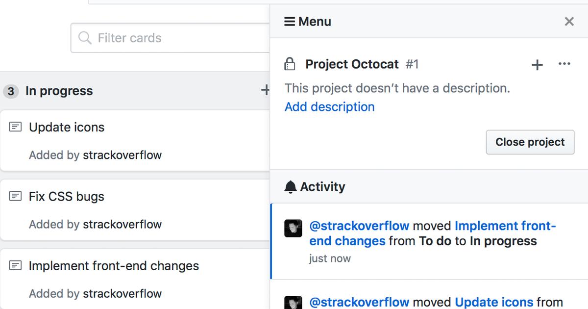 project activity screenshot