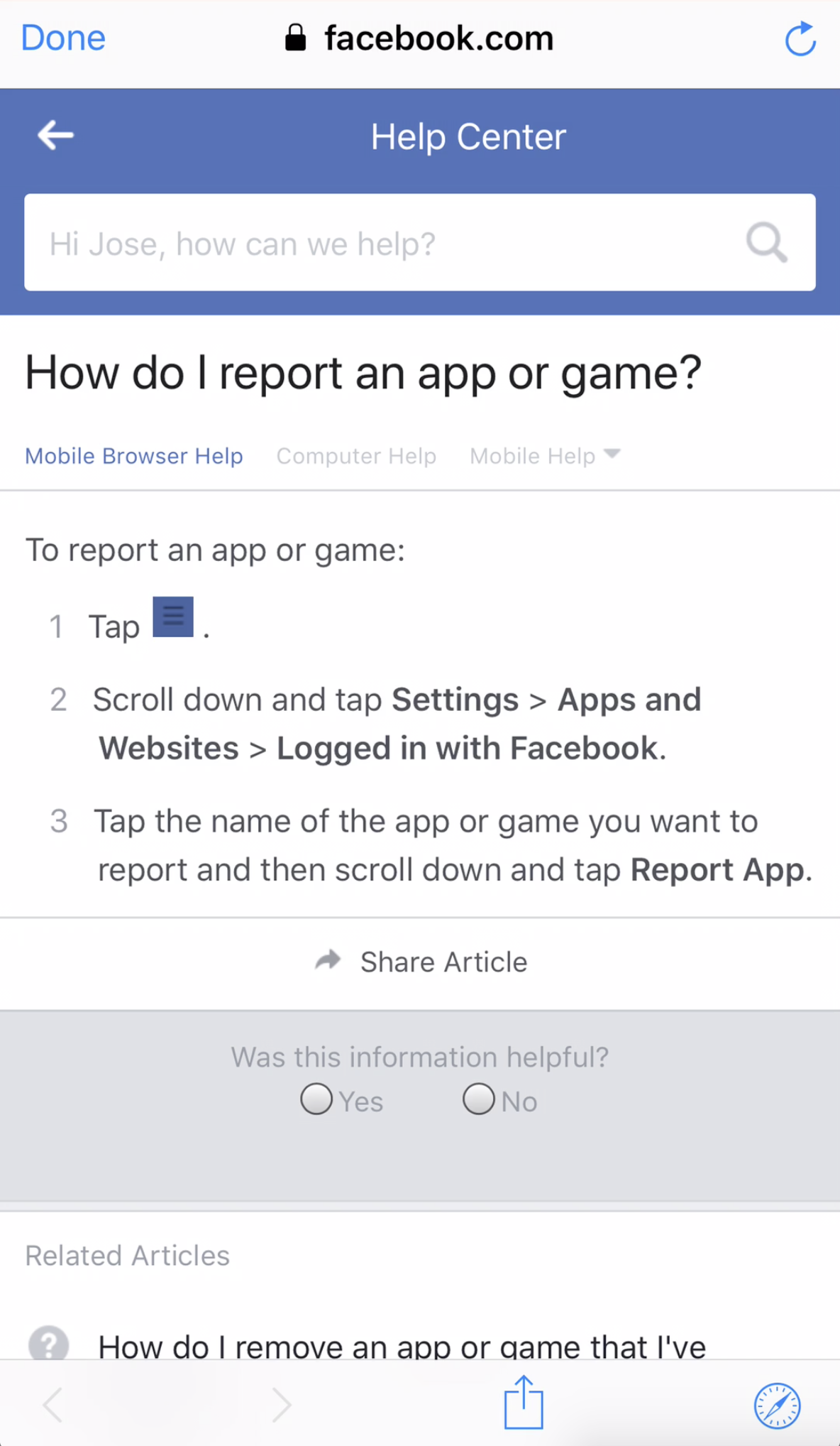 """Facebook login causes you to be taken to """"Help Center"""" if we"""