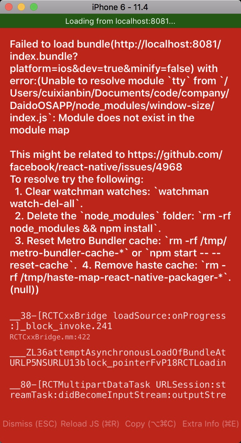 react-native : Unable to resolve module `tty` from