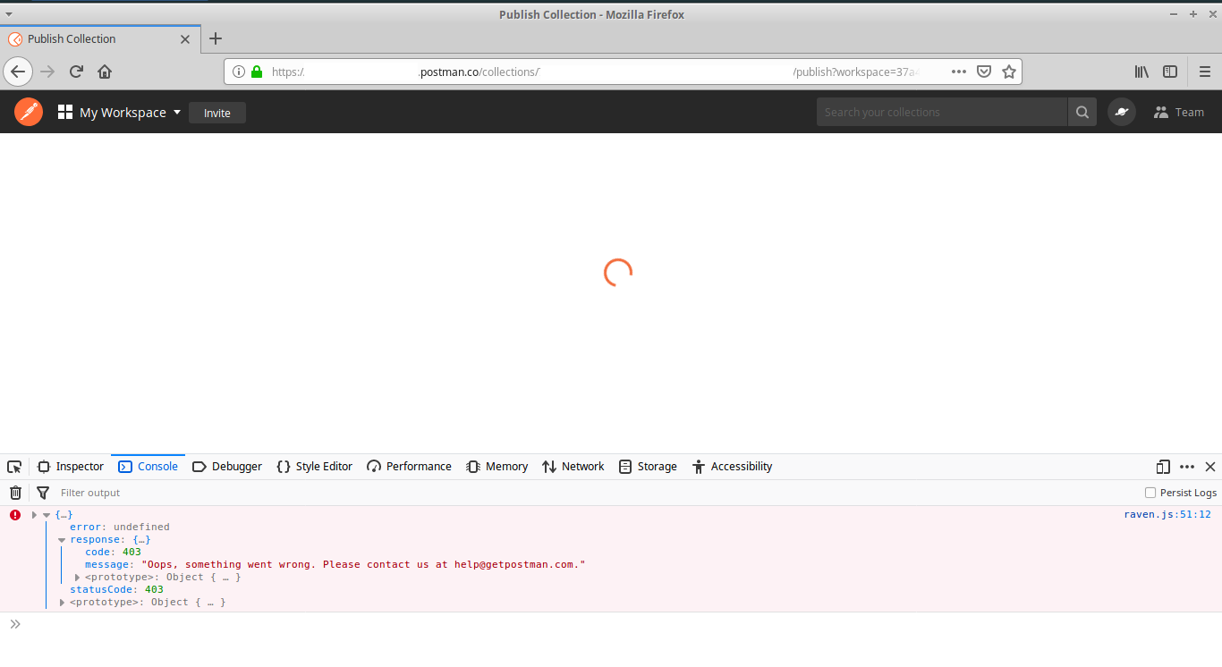 Web Dashboard: Unable to publish Collection, 'Something went