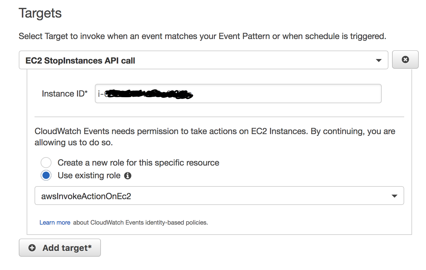 aws_cloudwatch_event_target role_arn and built-in target