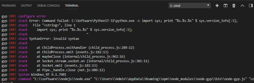 Can't find Python executable