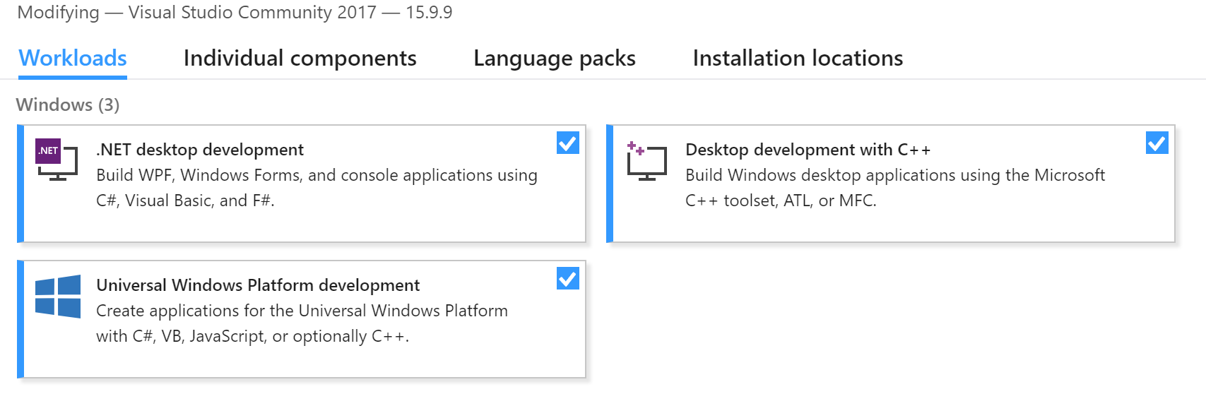 can't install on windows 10 with vs17 and toolsets v140 + v141