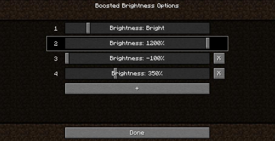 Screenshot of 5 brightness level options