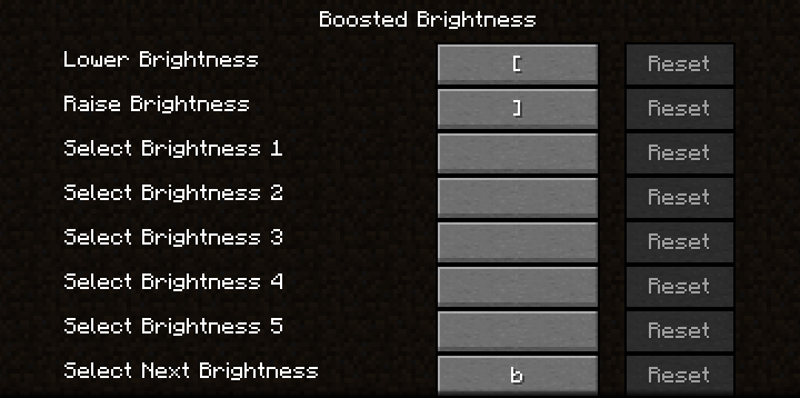 List of Boosted Brightness keybinds in controls option screen