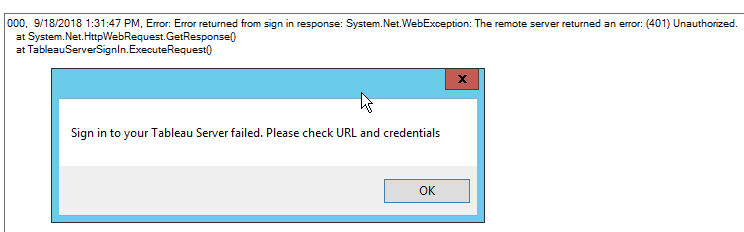 Sign in to your Tableau Server failed  Please check URL and