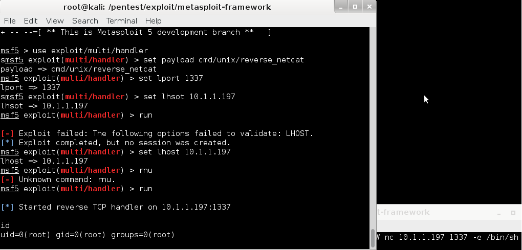 Metasploit no longer reports when it receives a session