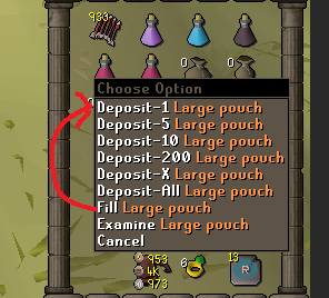 Left click fill rune pouches with new bank feature · Issue