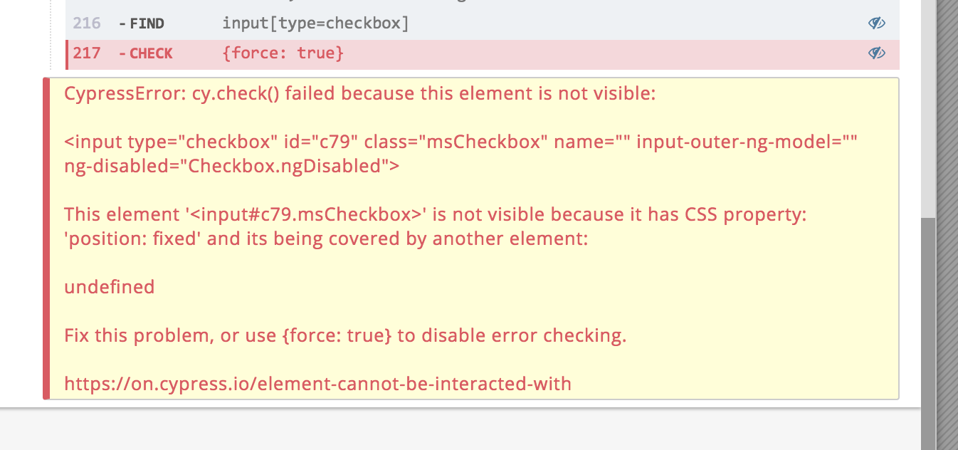 Using  check({ force: true }) on a checkbox that's already