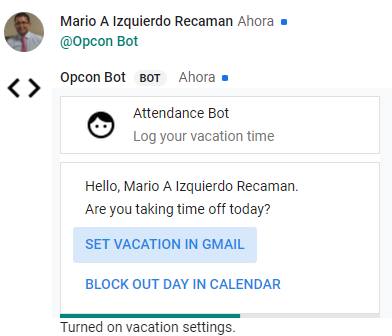 Bot works fine in a individual hangouts chat but in