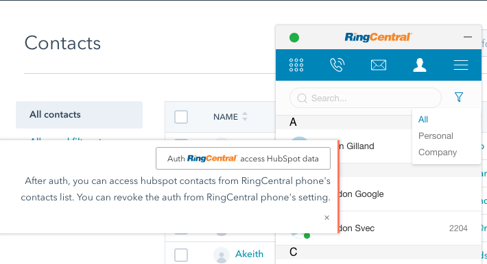 HubSpot contacts not appearing in RingCentral phone widget