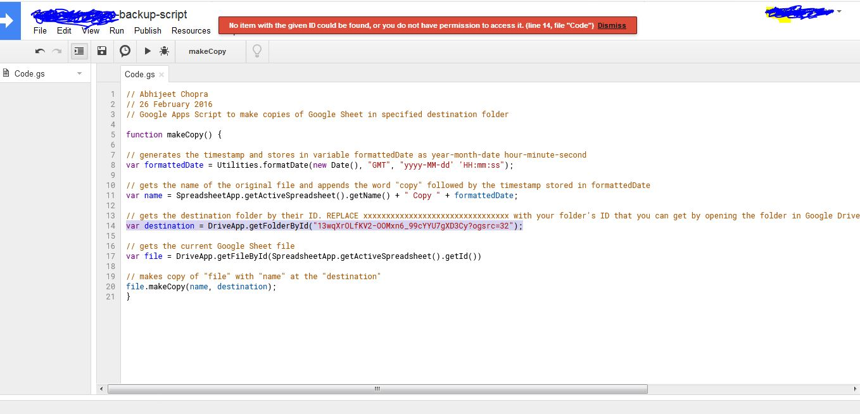 error goole script