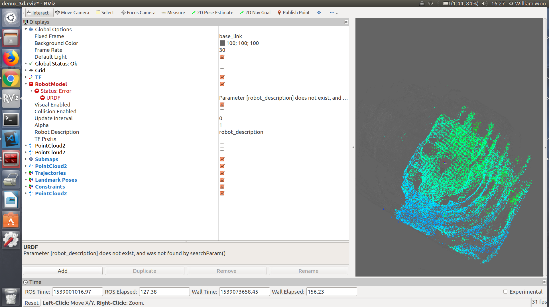 Cartographer 3D with IMU, 1 Velodyne-16 LiDAR  No map output · Issue