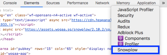 image of snowplow tab in console