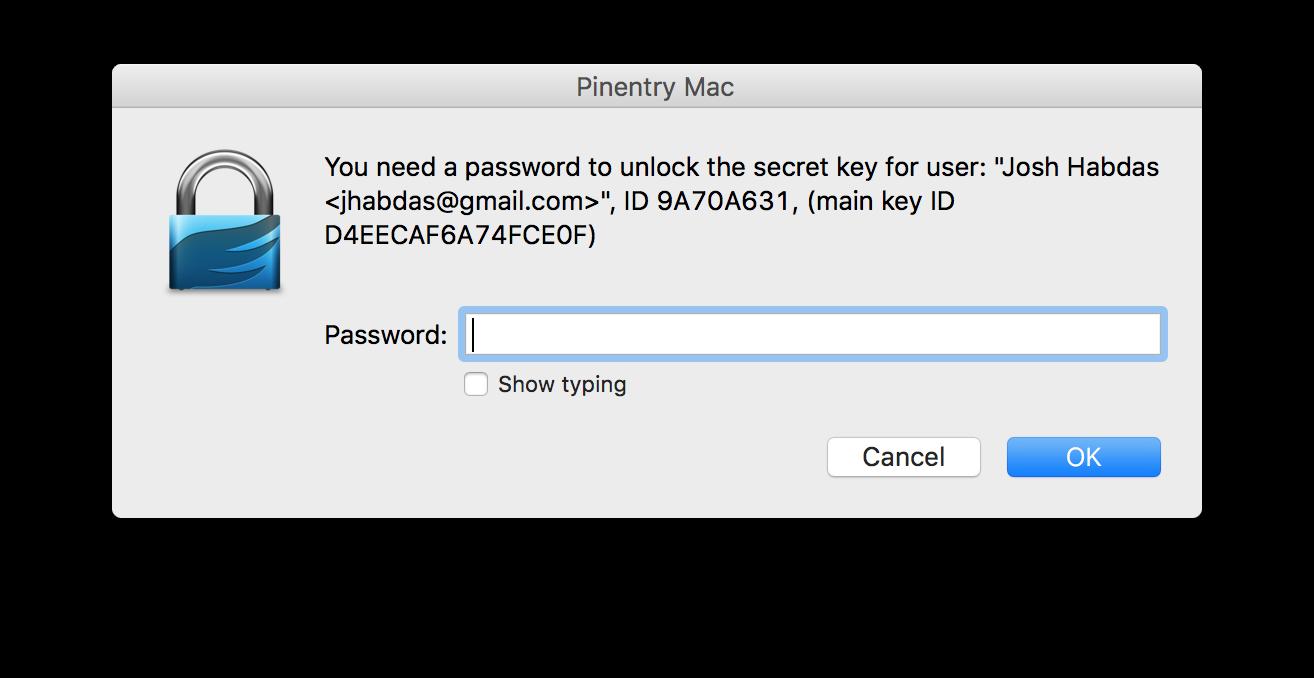 You need a passphrase to unlock the secret key