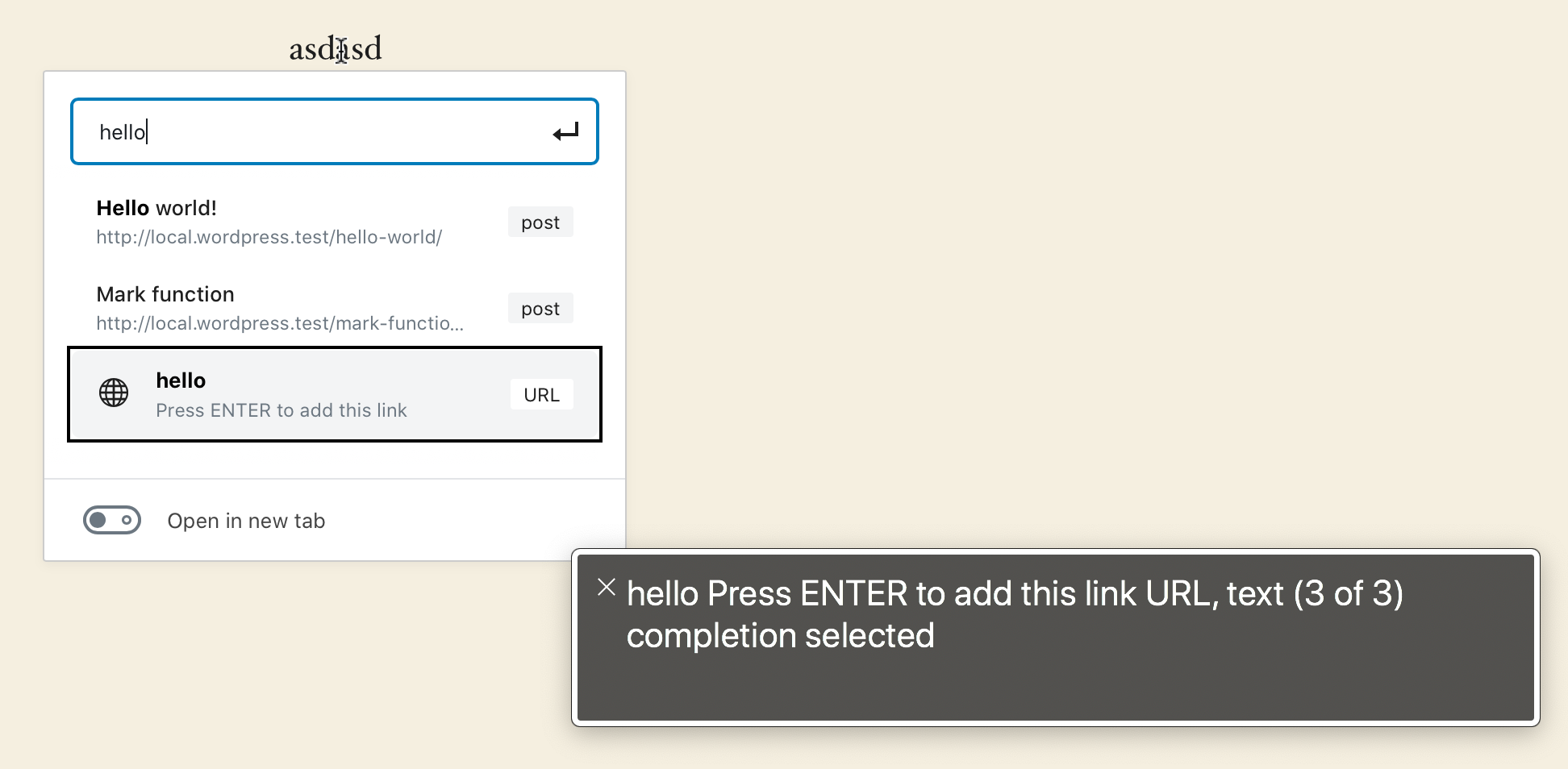 The list of link options allows to add a URL link even if what is added is not a URL