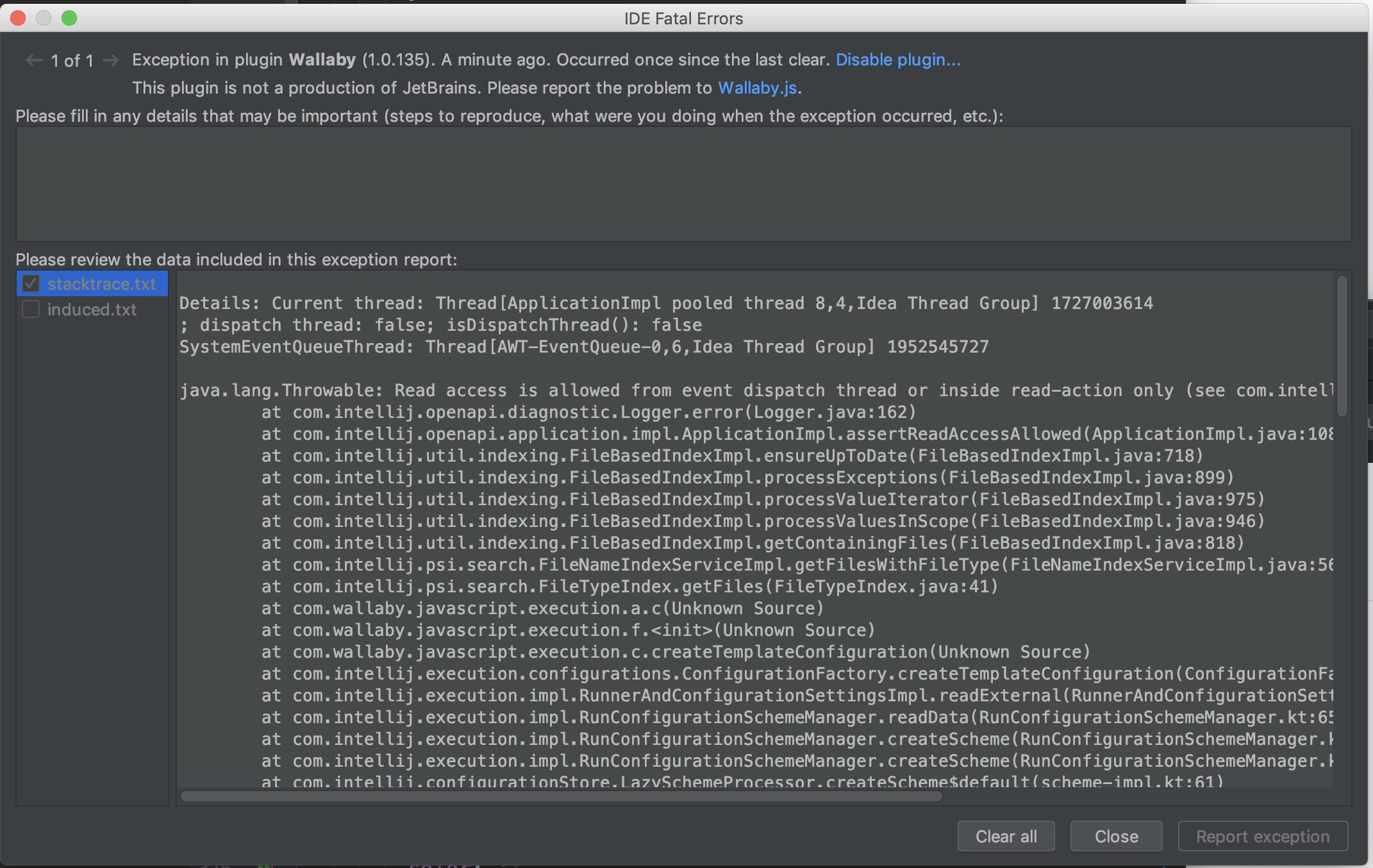 Webstorm complaining about a fatal error  I think since 1 0 135
