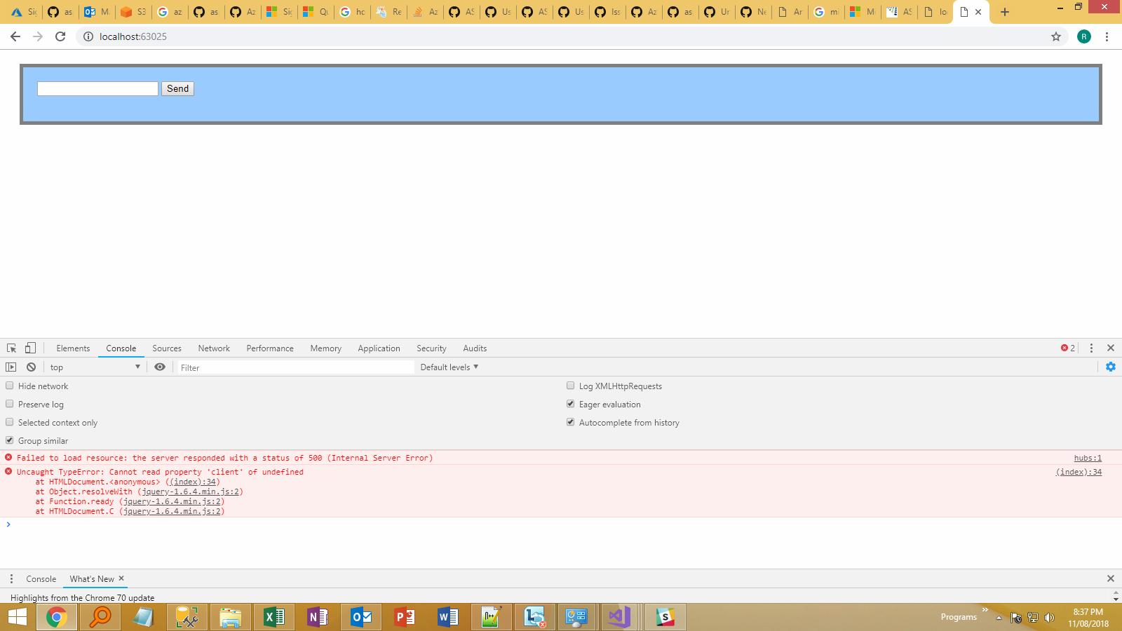 Asp net Azure SignalR Service- server responded with a status of 500