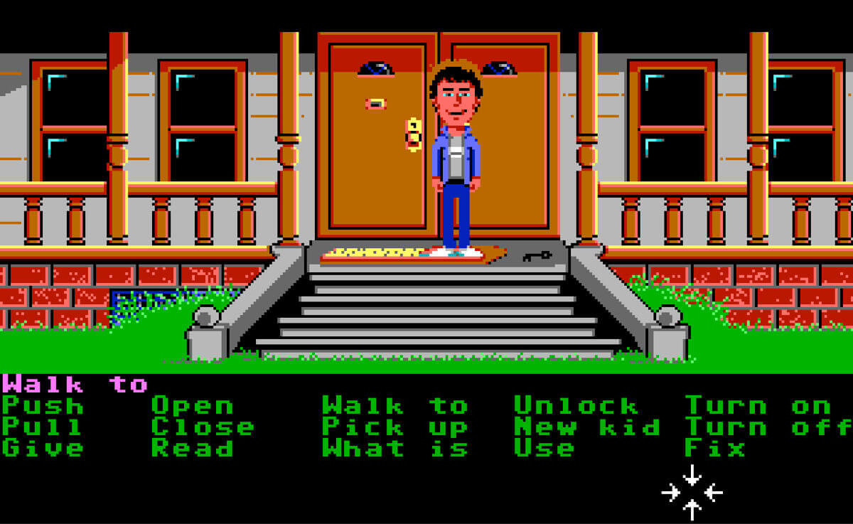 Screenshot of a scene of Maniac Mansion gameplay.