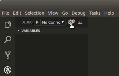 """Selecting the """"configure launch.json"""" button in VS Code"""