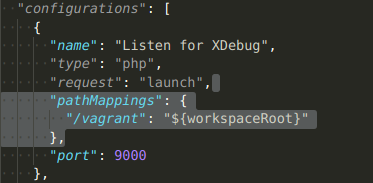 """Configuring """"pathMappings"""": { """"/vagrant"""": """"${workspaceRoot}"""" } inside VS Code launch.json file"""