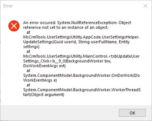 User Settings Utility Error · Issue #28 · MscrmTools