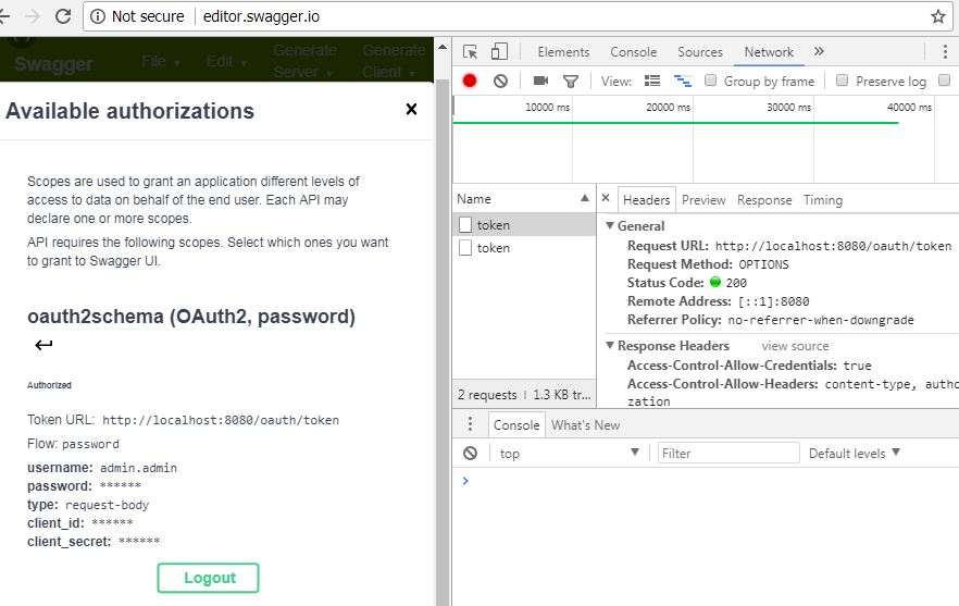 From swagger editor able to get the JWT auth token, but from