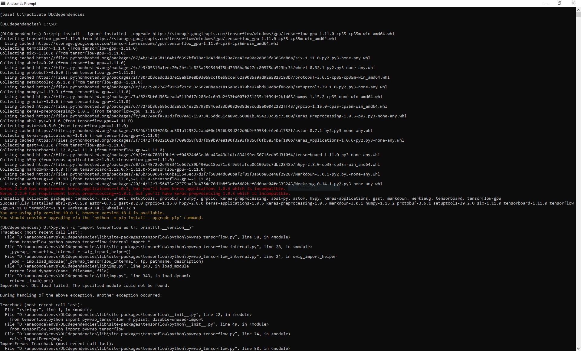 TensorFlow Installation Import Error (Windows 10) · Issue