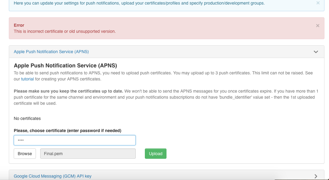 Unable to upload certificate in quickblox admin panel · Issue #1100