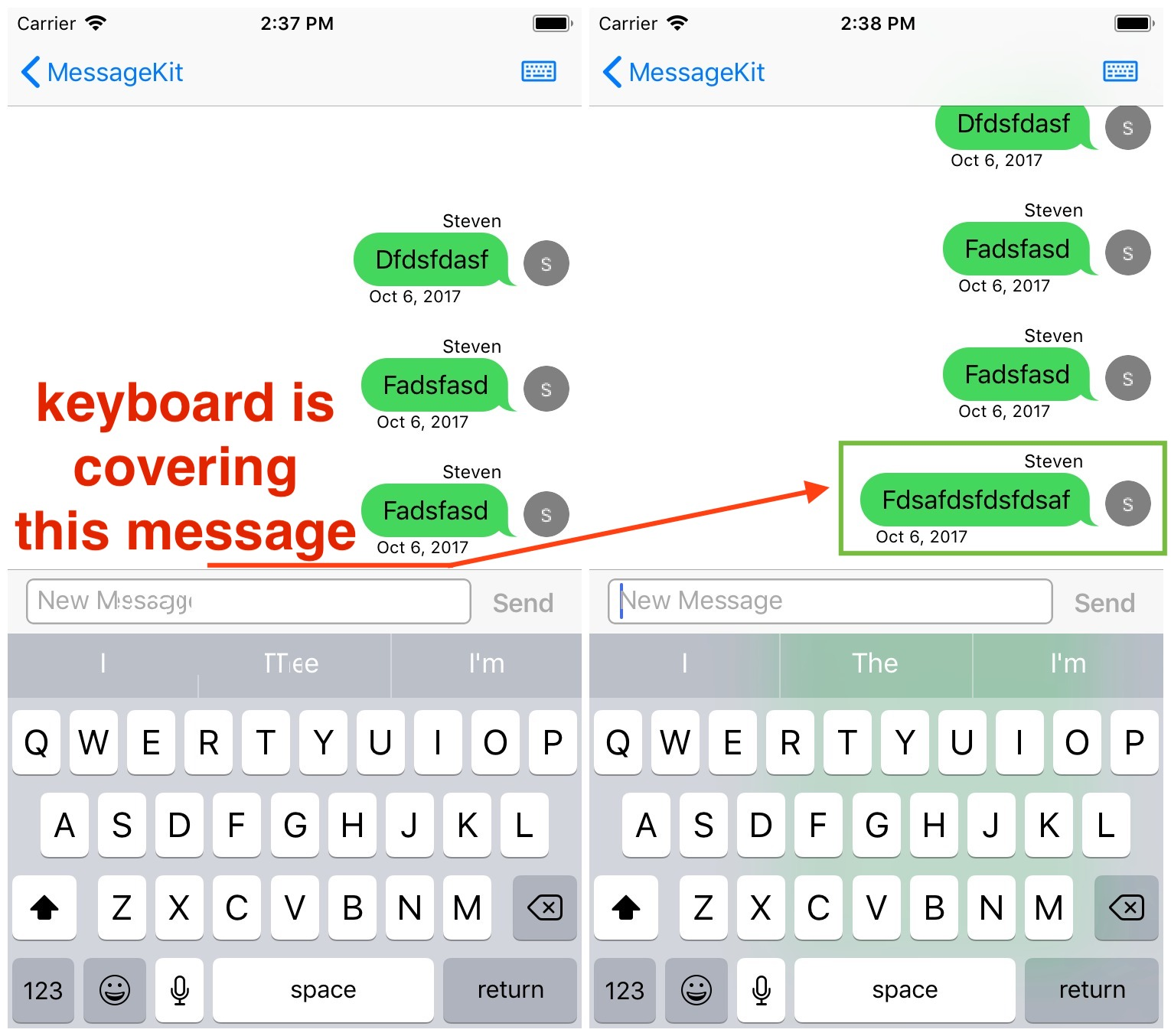 Keyboard will cover 4th and 5th messages in the newly initiated chat