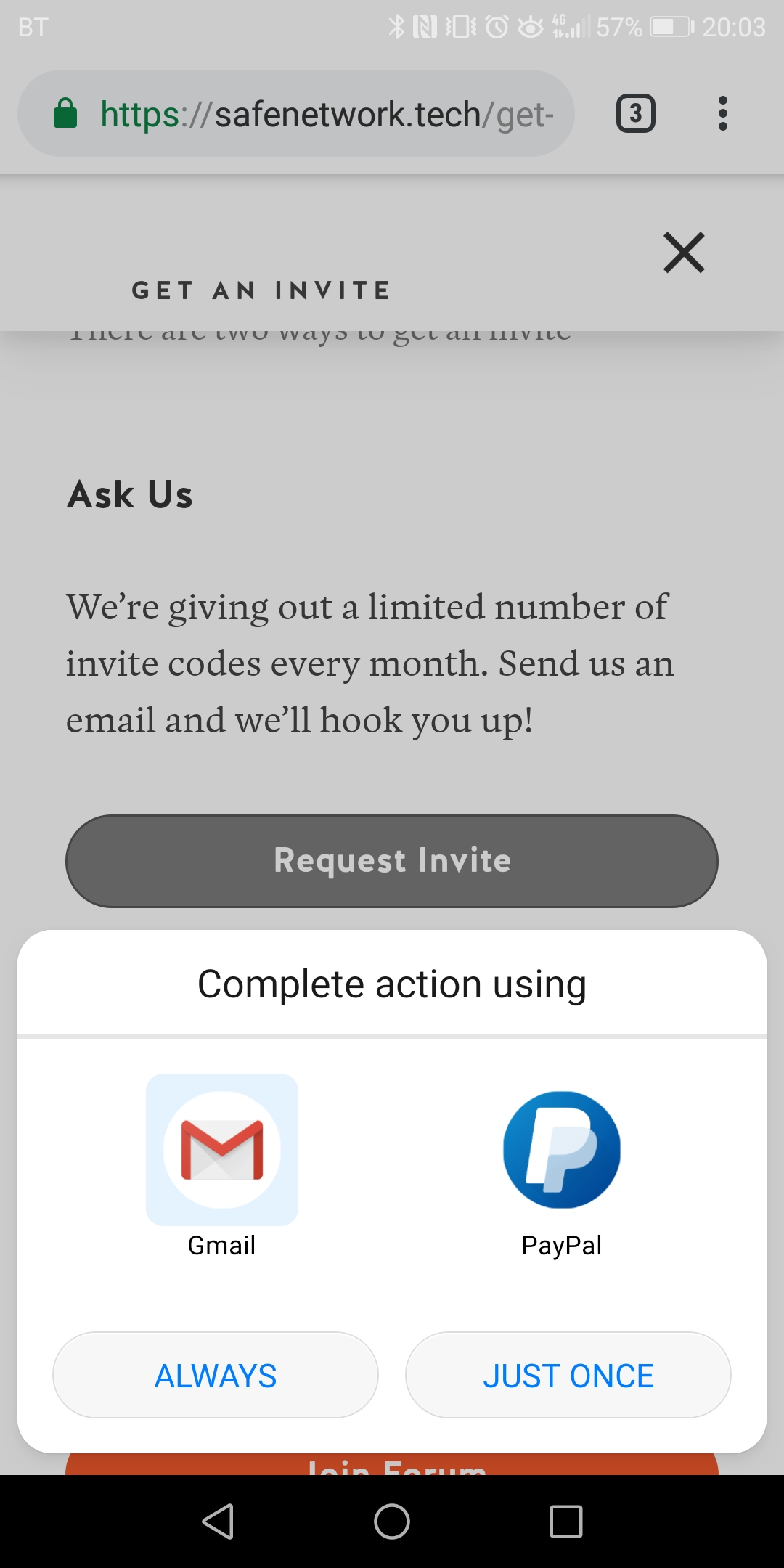 Android - Get Involved - request invite by email launches