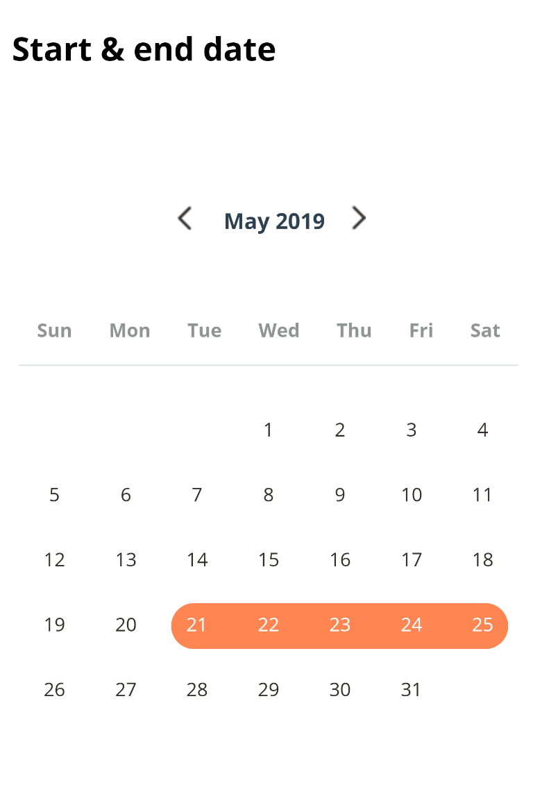 endingDay & startingDay are not displayed correct on Android