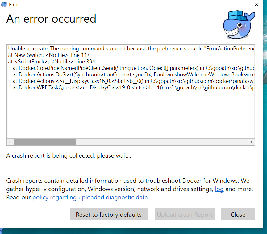 Error in docker for windows 10 after automatic restart after