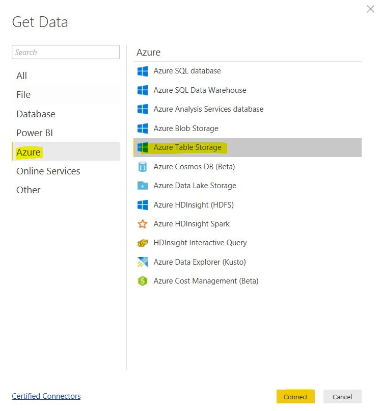 Azure Table Storage as AAS data source requires On-Premises