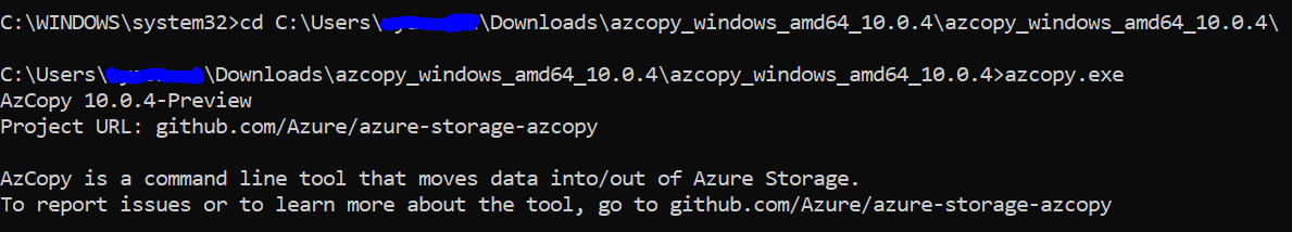 AzCopy cannot be used in any PowerShell script for Data Lake
