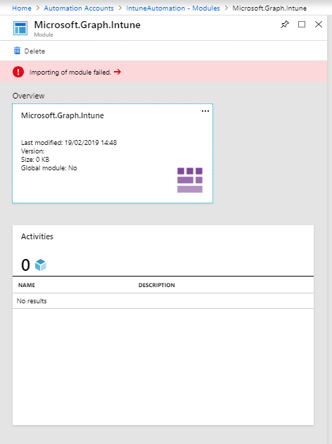 Module fails import on Azure Automation account · Issue #25