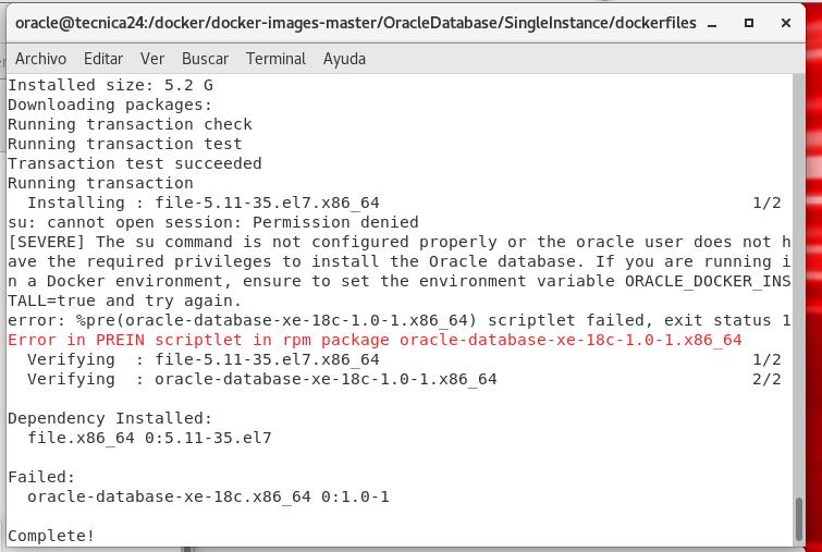 Error building Oracle XE 18c docker image in Oracle Linux 7