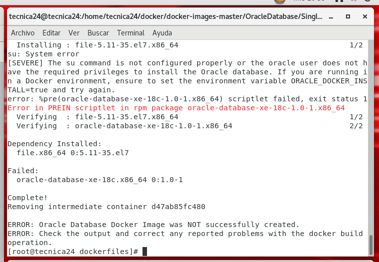 Error building Oracle XE 18c docker image in Oracle Linux 7 5 with