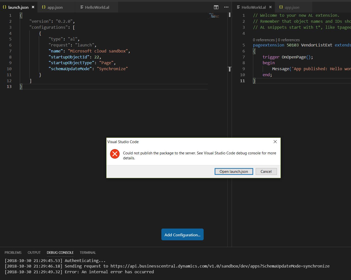 Error: An internal error has occurred · Issue #4142