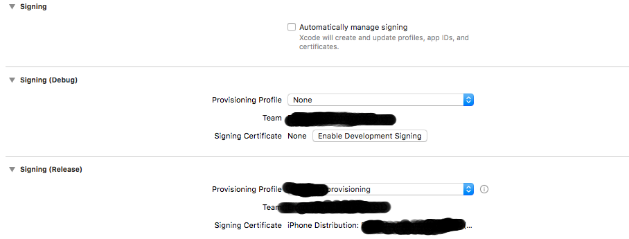 Code Signing Error: No profile for team matching found