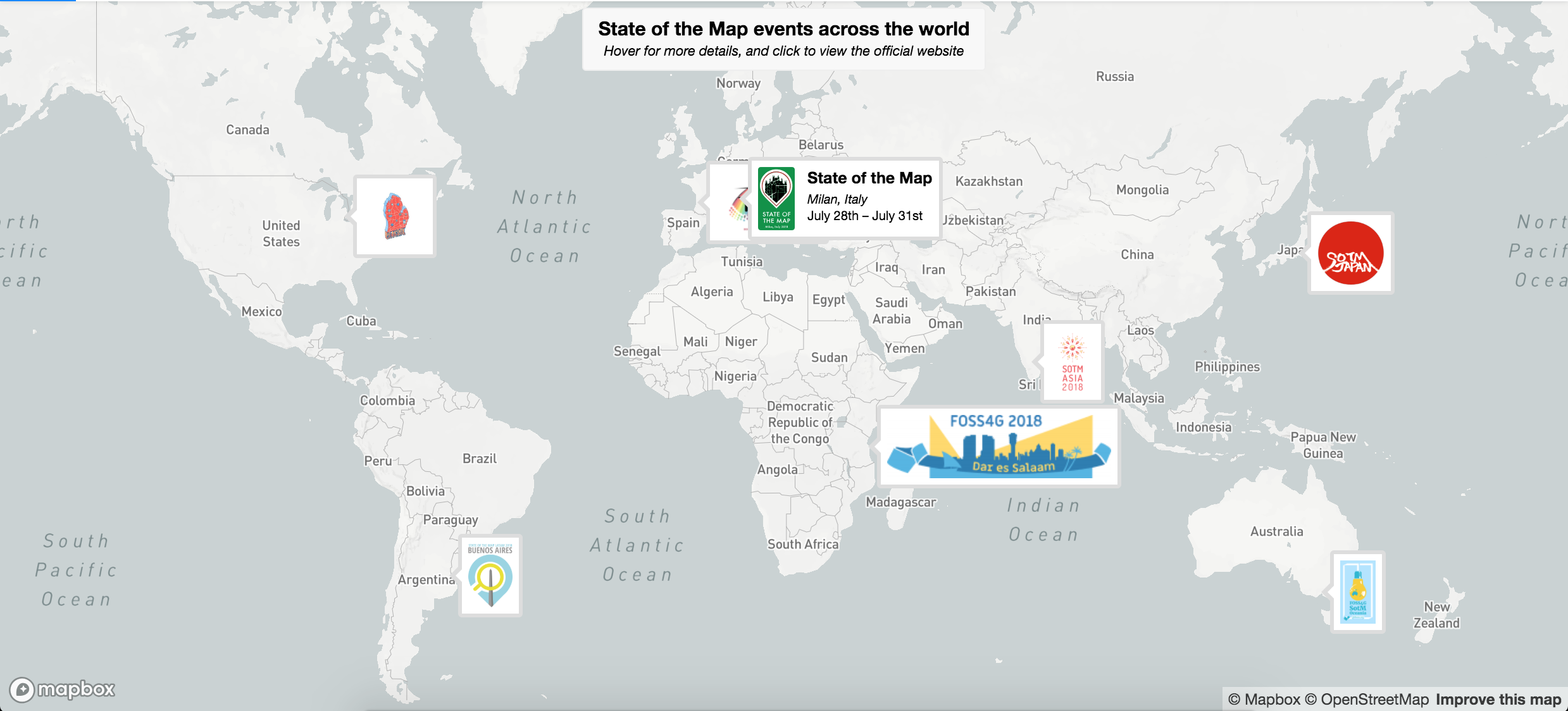 Map of all events