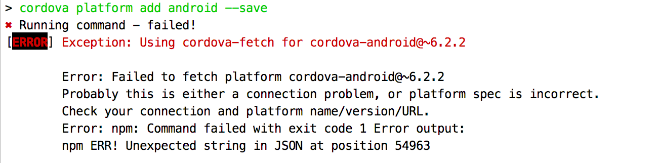 Failed to fetch platform cordova-android@~6 2 2 · Issue