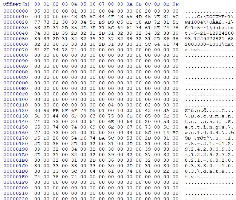 INFO2 data in HxD