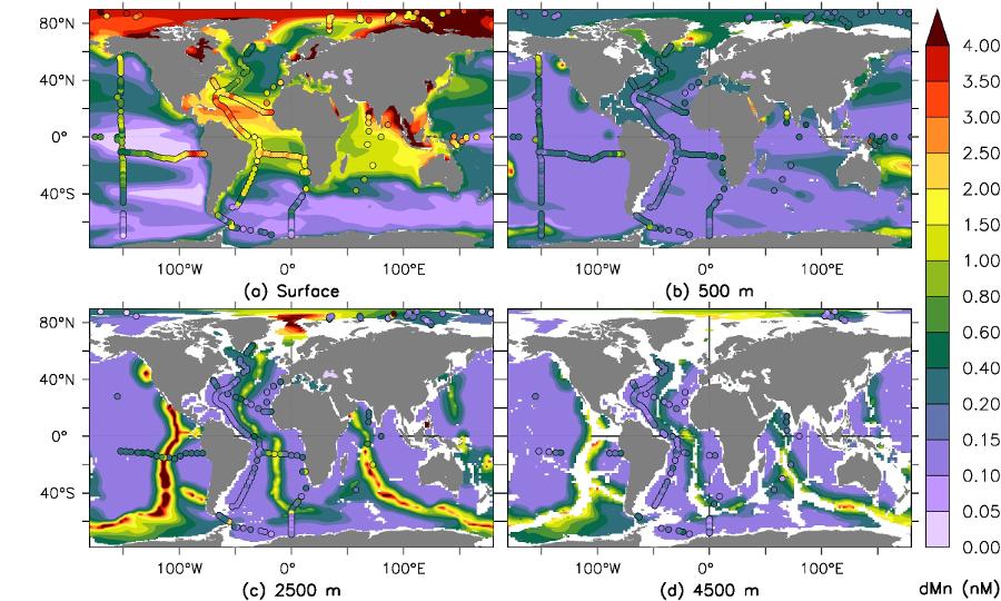 Figure 1: Dissolved Mn at four depths, model and observations (van Hulten et al. 2017)