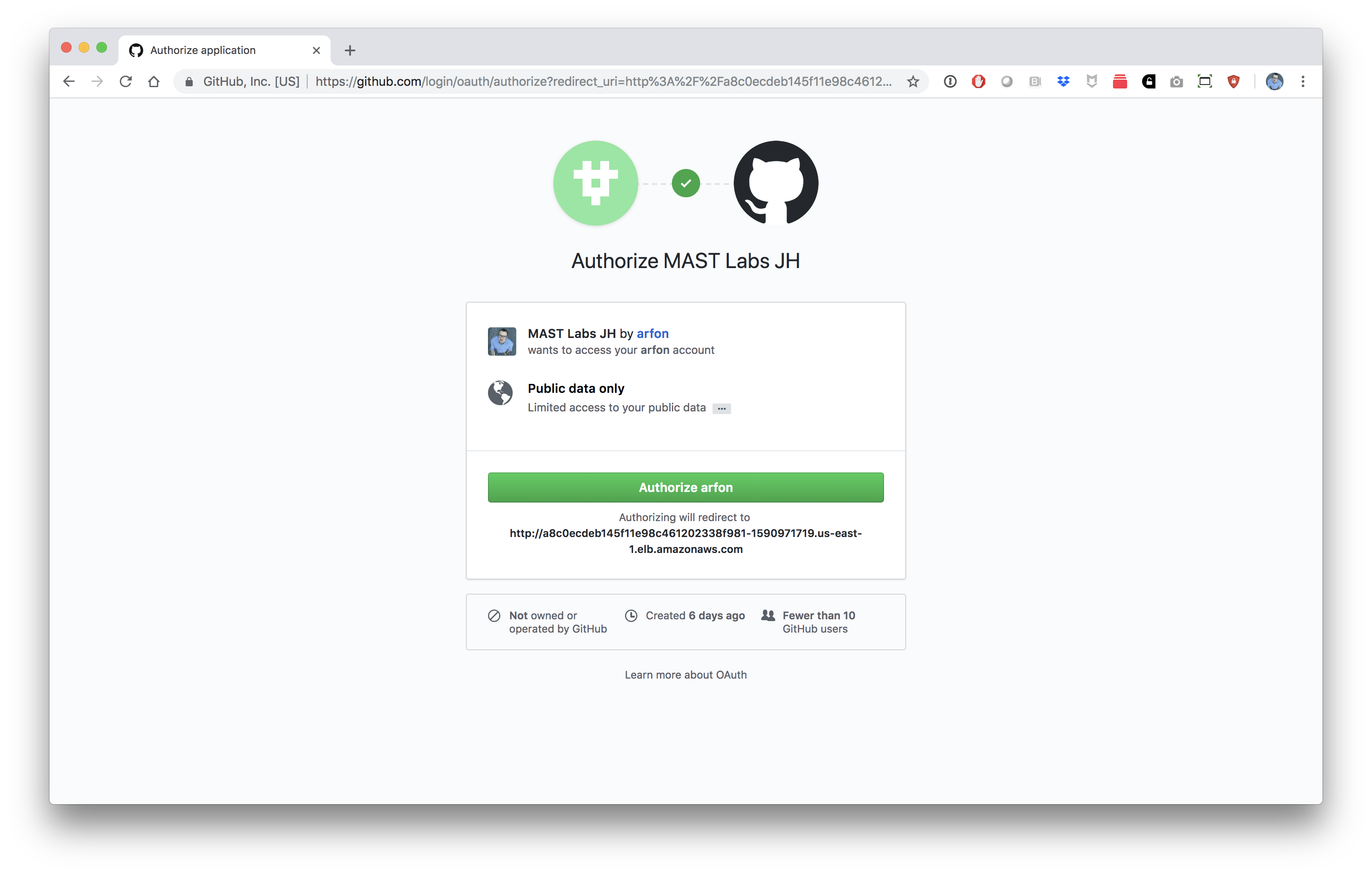 Log in with GitHub