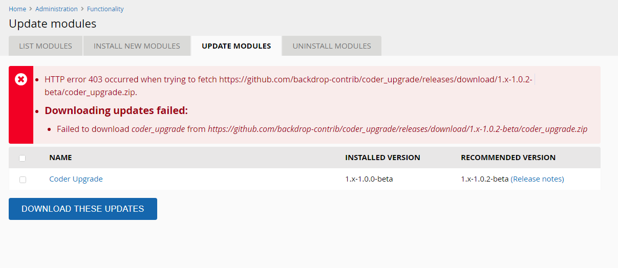 Error when updating/installing the module · Issue #11 · backdrop