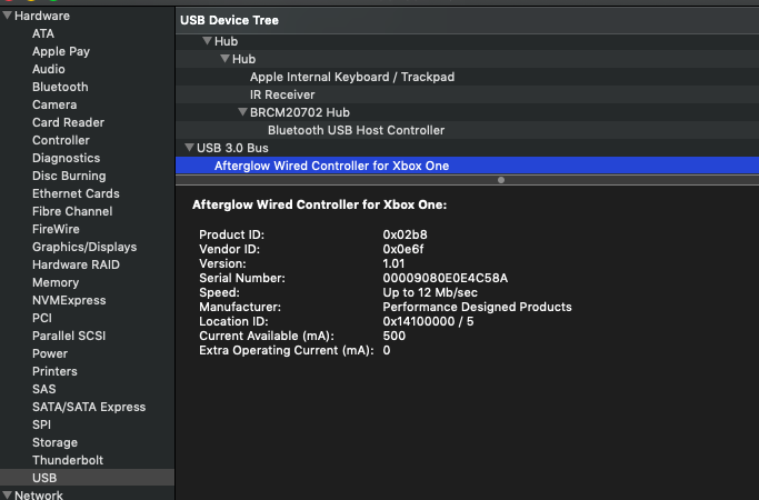 Xbox One afterglow controller, no devices found · Issue #793