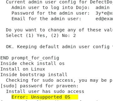 Unsupported OS error on Defectdojo installation in CentOS 7